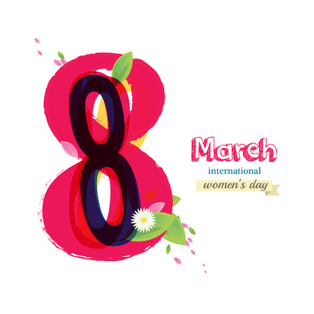 8 March Womens Day greeting card illustration