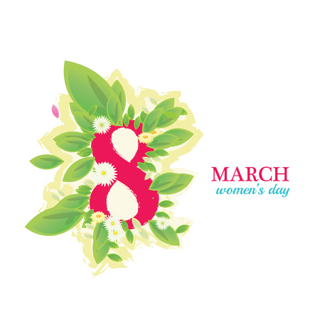 8 March Women's Day greeting card illustration 版權商用圖片 - 72003234