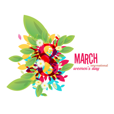 8 March Women's Day greeting card illustration