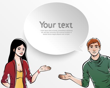 for text: Persone, uomo e donna in illustrazione con spazio per il testo in fumetti