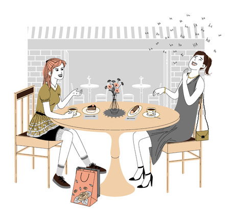 women talking: Two beautiful women talking friendly at coffee shop while drinking hot beverages