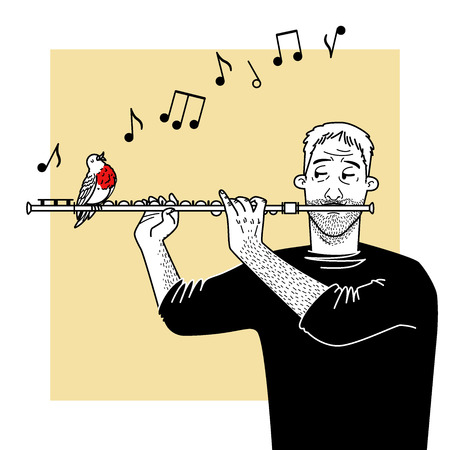 rehearsal: The musician plays a flute with bird.