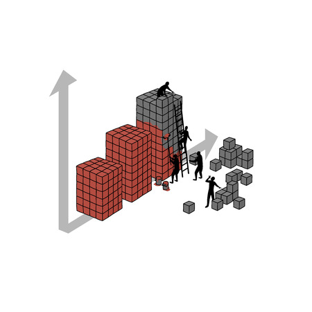 aspirational: Growing graph. illustration about people, which build graph