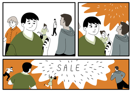 closeout: Illustration in comics style about closeout