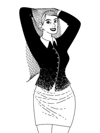 poses de modelos: mujer con pelo largo  Vectores