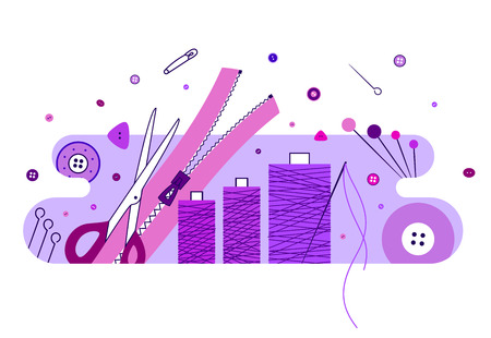sew: Abstract illustration with knitting and sewing accessories, purple Illustration