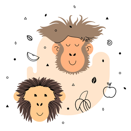 abstract gorilla: Two monkeys and fruits, light yellow Illustration