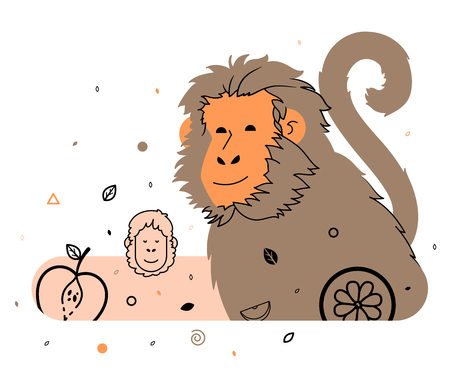 light brown: Monkeys and fruits, light brown