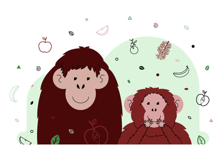 abstract gorilla: Two smiling monkey with fruits