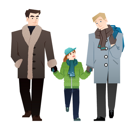 gay family: Young gay family Illustration