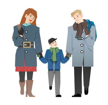 young schoolchild: family walk Illustration