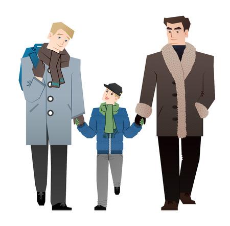 gay family: Gay family walk
