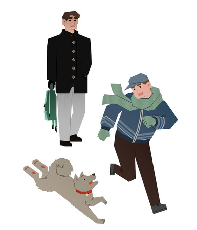 warm clothing: father with son and dog Illustration