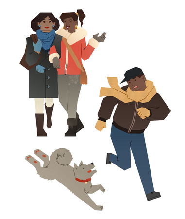 african american couple: young lesbian family with son Illustration