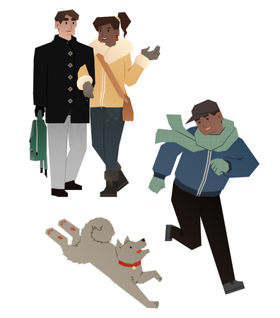latin american boys: young family with son Illustration
