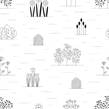 jointless: Floral pattern black and white Illustration
