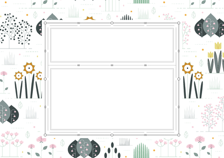 double volume: floral background with double border