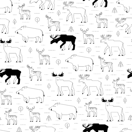 mixed forest: forest animals pattern Illustration