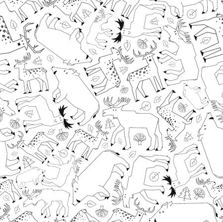 deciduous forest: forest animals pattern, black and white