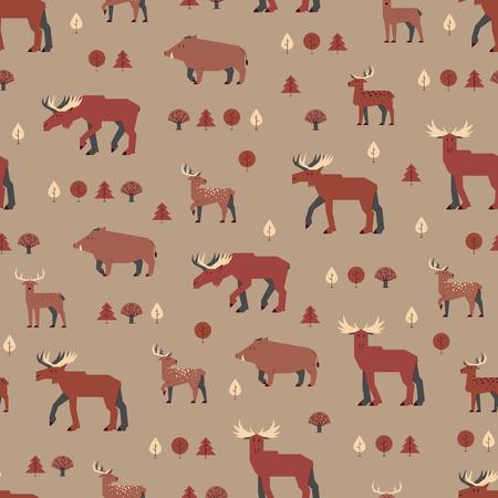 mixed forest: forest animals pattern, brown orange