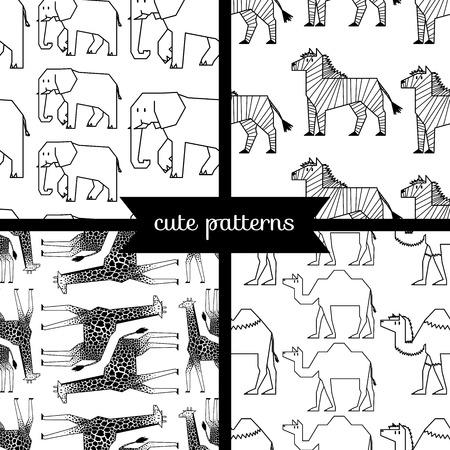 hoofed mammal: set of simple cute seamless patterns, african animals Illustration