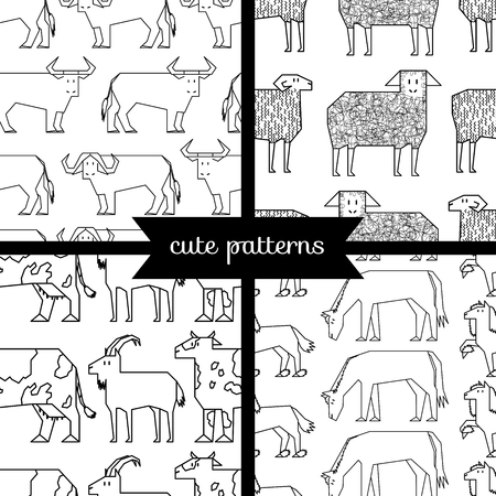 hoofed: set of simple cute seamless patterns, hoofed cattle