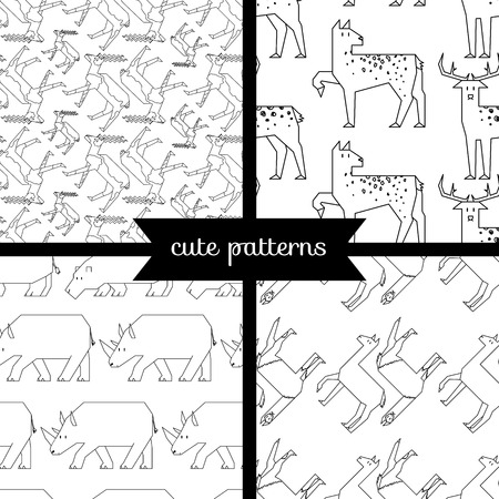 cachalot: set of simple cute seamless patterns, hoofed animals