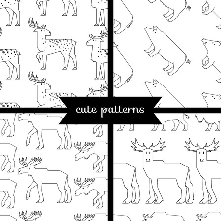 husbandry: set of simple cute seamless patterns, forest dwellers
