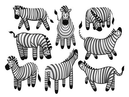 set of cute zebras 向量圖像