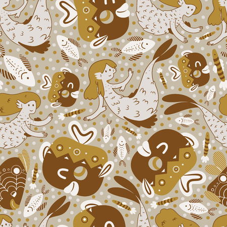 warm water fish: cute marine pattern Illustration