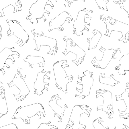 hoofed mammal: contour forest dwellers pattern