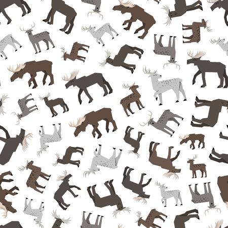 hoofed mammal: moose and deer pattern Illustration