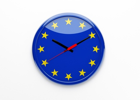 deficits: Metaphor for the euro crisis and policy using a clock created in 3d, the european flag