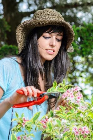 ciruela pasa: Joven mujer de jardinería y el cuidado de las plantas en verano.