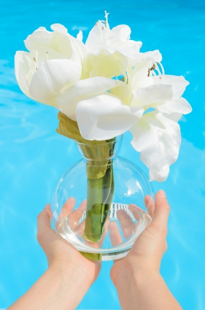 White flowers in vase in blue water background. photo