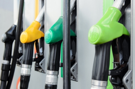 Close-up of gas station pumps photo