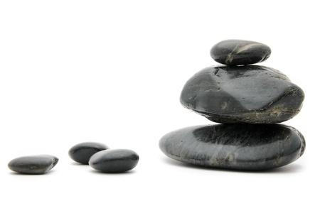 Balanced spa stones on white  Stock Photo
