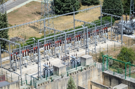 electricity substation: Power plant of and hydroelectric dam with transformers