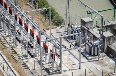 electricity substation: Power plant and transformers of hydroelectric station