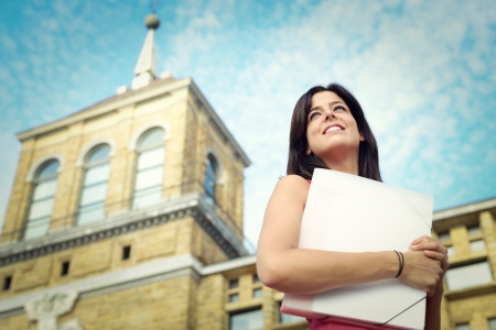Successful female college student portrait in campus  Education success and future opportunities concept  Stock Photo