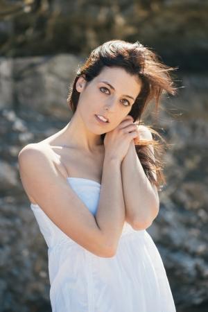 fair skinned: Nostalgic and melancholic natural woman portrait  Yearning beautiful brunette girl outside
