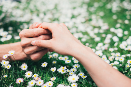 Young romantic  lovers holding hands gently on spring flowers field  Love and affection concept  Zdjęcie Seryjne