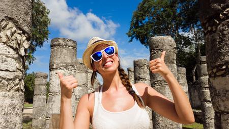 mayan riviera: Woman having fun at Chichen Itza ruins, Mayan Riviera, Mexico. Female tourist on vacation travel.