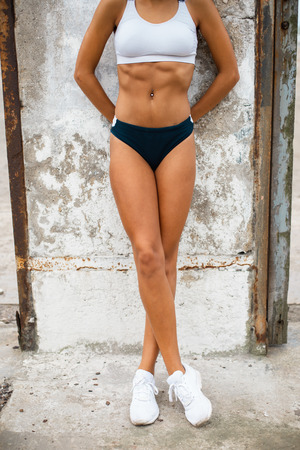 Close up of female athlete shredded fit boy. Running fitness lifestyle concept. Stock Photo
