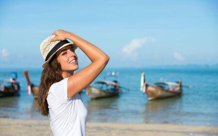 Happy young tourist in Railay Beach, Krabi, Thailand.