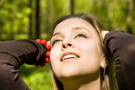 Happy Day. Yound Blond Woman In The Fores In Sunny Day. Stock Photo - 3095195