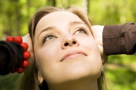 Dreaming. Yound Woman Relaxing In The Forest. Stock Photo - 3018897