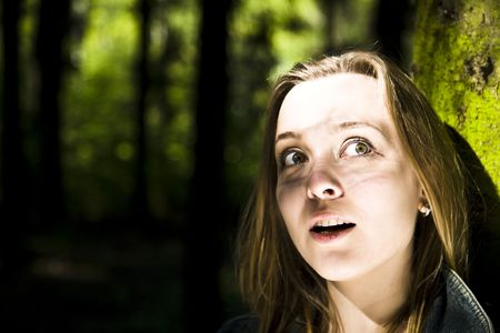 Young Girl Stay Alone In The Forest Stock Photo - 3018810