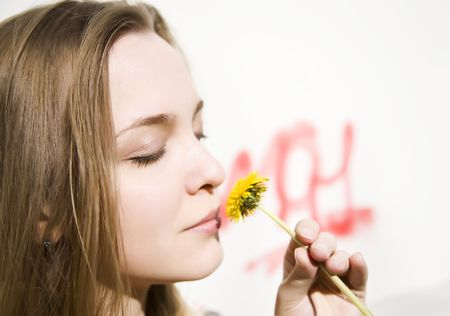 Young Woman With First Spring Flower Stock Photo - 3018943