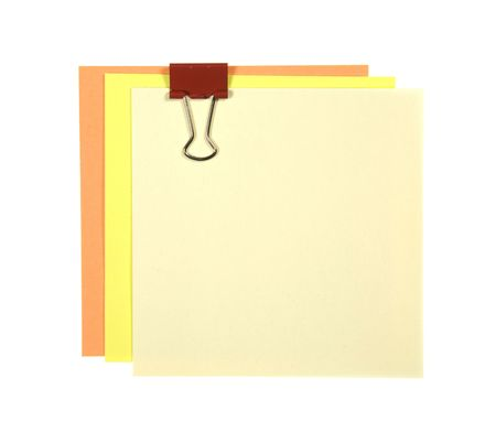 posting: Set Of Colorful Notes With Red Metal Clip Isolated On White Stock Photo